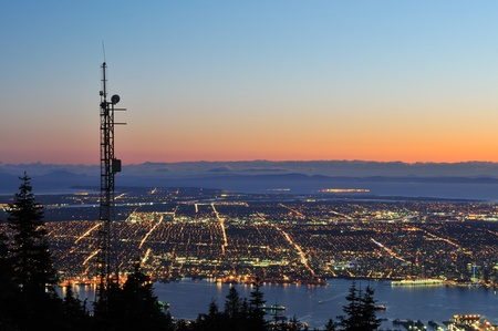 vancouver: Downtown Vancouver night scene viewed from Grouse Mountain Stock Photo