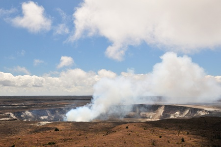 Kilauea crater is the largest crater in Volcano Nationals Park, Big Island, Hawaii