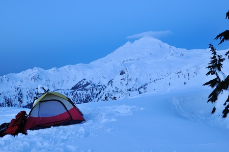 Snow Camping at Huntoon Point, Mt  Baker-Snoqualmie National Forest Stock Photo - 13050740
