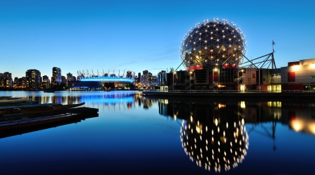 bc: Vancouver Science World and BC Stadium at night