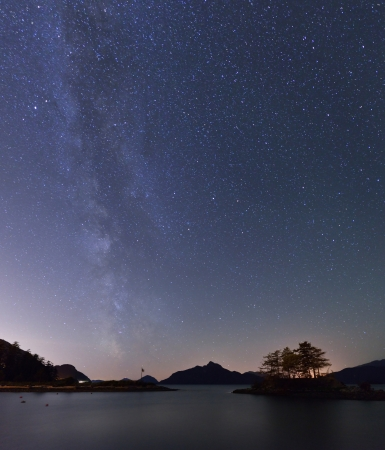 Milky Way and Anvil Island, Howe Sound, British Columbia photo