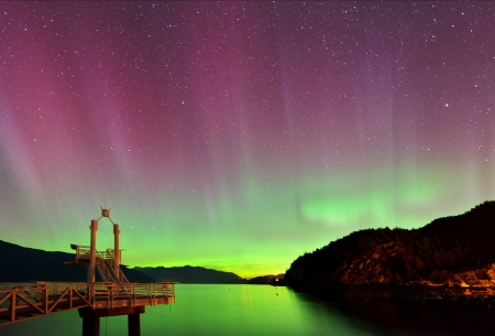 aurora borealis at Porteau Cove Provincial Park, Howe Sound, British Columbia photo