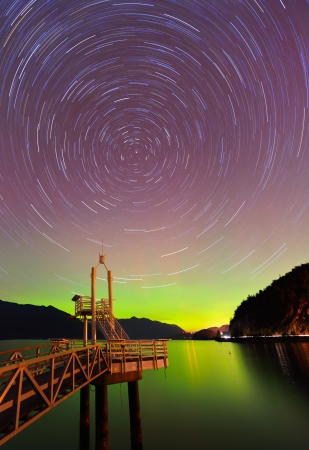 aurora borealis and startrails at Porteau Cove Provincial Park, Howe Sound, British Columbia photo