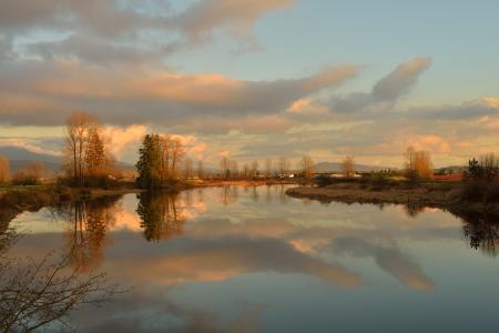 fraser river: Alouette River sunset, Pitt Meadows, British Columbia