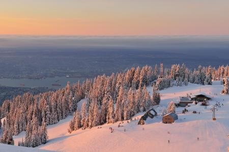 british columbia: Grouse Mountain Ski Resort at sunrise Stock Photo