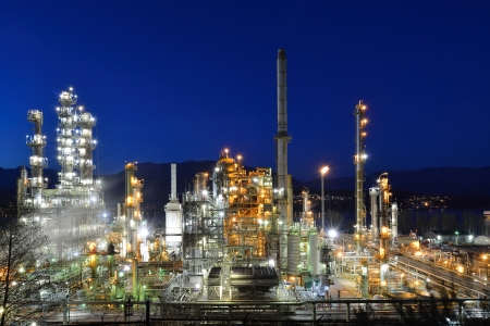 industrail: Oil refinery at night, Burnaby, British Columbia, Canada