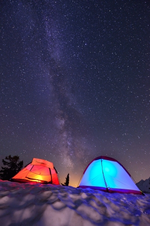 mt baker: Milky Way and Tents   from Artist Point, Mt  Baker National Park