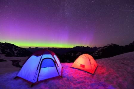 northern light: Aurora Borealis and tents on Artist Point, Mt  Baker National Park