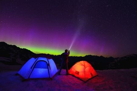 mt baker: Aurora Borealis and tents on Artist Point, Mt  Baker National Park