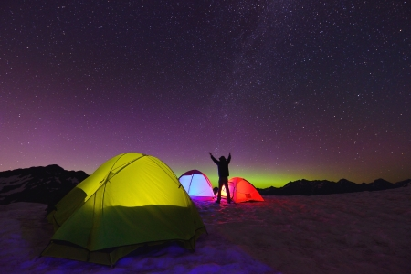 Aurora Borealis and tents on Artist Point, Mt  Baker National Park