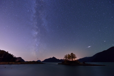 british columbia: Perseid Meteor and Milky Way with Anvil Island in background, Howe Sound, British Columbia