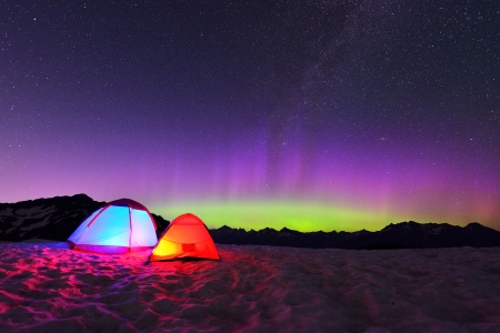 mt baker: aurora borealis and tents on Artist Point, Mt. Baker National Park Stock Photo