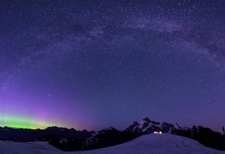 Aurora Borealis and Milky Way from Artist Point Stock Photo