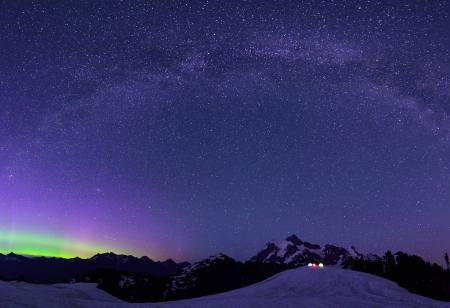 aurora borealis: Aurora Borealis and Milky Way from Artist Point Stock Photo