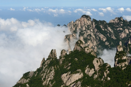 grotesque: Grotesque Rocks on foggy Mt  Huangshan, Anhui Province Stock Photo