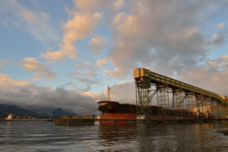 bulk cargo conveyor and ship by Ironworkers Memorial Second Narrows Crossing, Vancouver photo