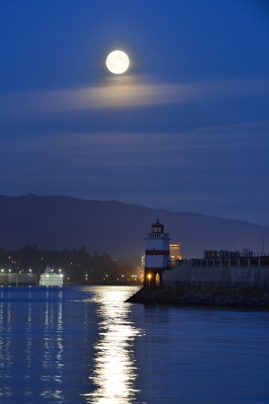 Harvest Moon and brockton point Lighthouse in Stanley Park photo