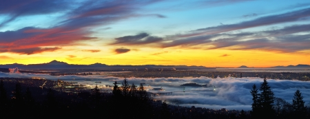 mount baker: Vancouver Panoramic Cityscapes at sunrise, viewed from Cypress Mountain lookout