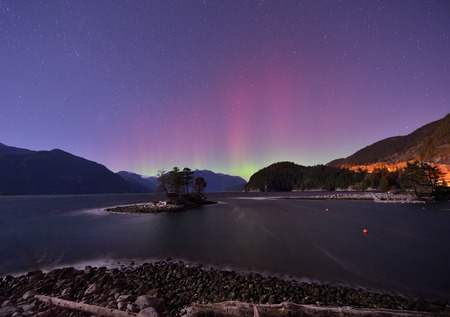 Furry Creek and Aurora at midnight, located on Howe Sound in the Squamish-Lillooet Regional District