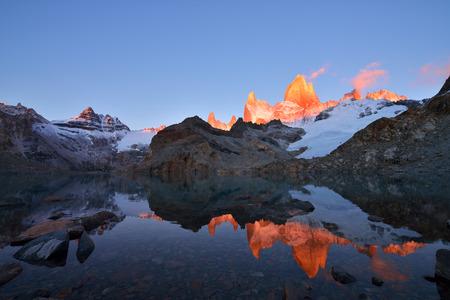 fitz: Laguna de Los Tres and mount Fitz Roy, Dramatical sunrise, Patagonia, Argentina