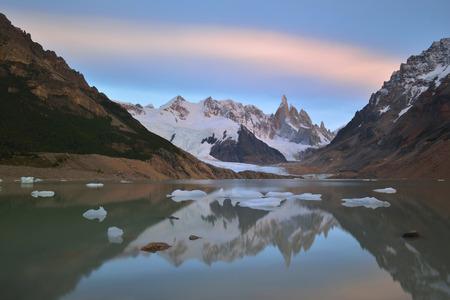 tres: Cerro Torre and Laguna Torre at sunrise, Patagonia, Argentina. Stock Photo