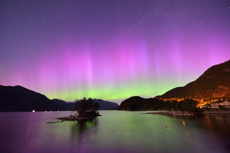 northern light: Furry Creek and Aurora at midnight, located on Howe Sound in the Squamish-Lillooet Regional District