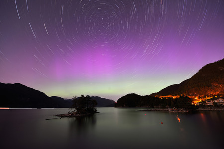 Aurora and Star Trails at Furry Creek, located on Howe Sound in the Squamish-Lillooet Regional District photo