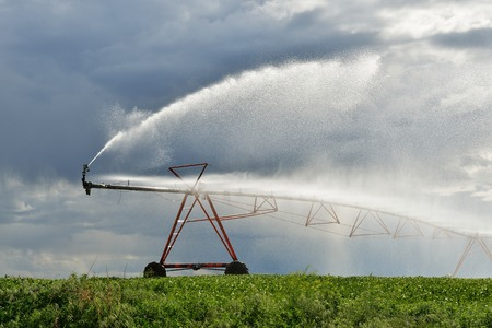 Irrigation pivot on the wheat field in Washington farmland