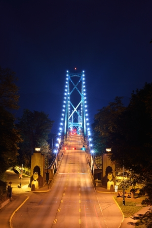 bc: Lions Gate Bridge Night Scene, Vancouver, BC Stock Photo
