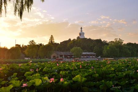 dagoba: The White Dagoba on Qionghua Island, Beihai Park Stock Photo