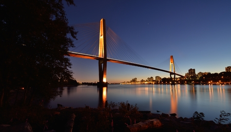 bc: The SkyBridge is a cable-stayed bridge for sky trains between New Westminster and Surrey