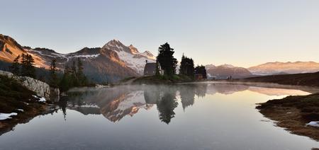elfin: Elfin Lake sunrise,  with Garibaldi Mountain in the background