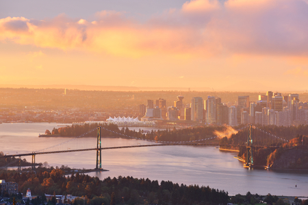 Lions Gate Bridge and Downtown Vancouver at winter sunrise