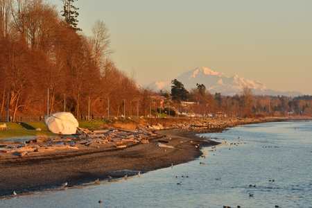 mt baker: The Rock of City of White Rock and Mt. Baker in Background Stock Photo