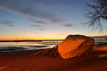 bc: The Famous Rock of City Of White Rock at sunset, British Columbia Stock Photo