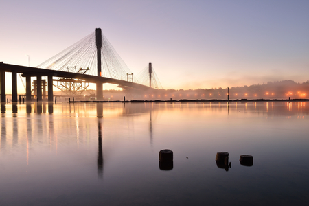 mann: The New Port Mann Bridge at sunrise, one of the widest bridges in the world