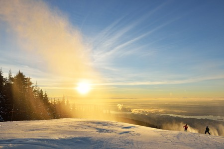 holiday maker: New Year day sunrise at Grouse Mountain Ski hill