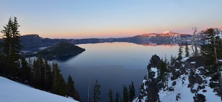 oregon  snow: Wizard Island Winter at Crater Lake Oregon, sunset Stock Photo