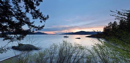 kelvin: Kelvin Grove Beach sunset - Lions Bay, BC Stock Photo