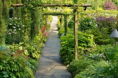 Flower Garden walkway in Butchart Gardens Stock Photo