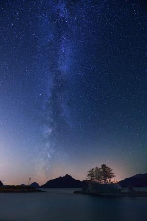 star: Milky Way and Anvil Island, Howe Sound, British Columbia