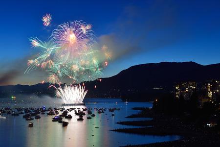 night dusk: Celebration of Lights, fireworks display at English Bay, Vancouver, BC