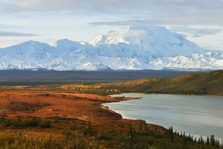 Denali Mountain and Wonder Lake at sunrise, Alaska