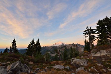 mt baker: Autumn Sunrise, Mt. Baker-Snoqualmie National Forest, Washington Stock Photo