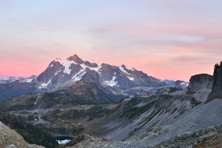 mt baker: Mount Shuksan Sunset, viewed from Herman Saddle slopes, Mt. Baker-Snoqualmie National Forest Stock Photo