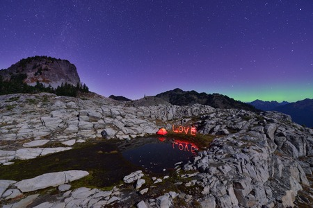 mt baker: Aurora Borealis and tent on Artist Point, Mt. Baker-Snoqualmie National Forest