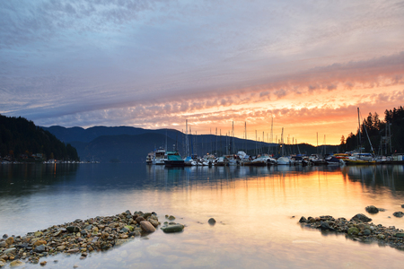 cove: Deep Cove cloudy sunrise, North Vancouver, British Columbia