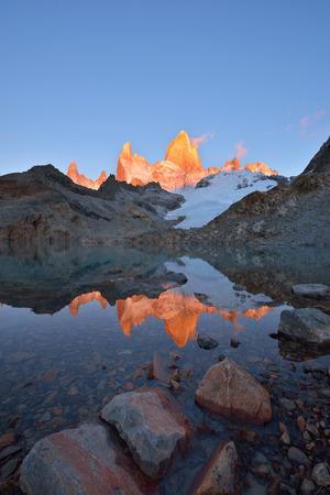 tres: Laguna de Los Tres and mount Fitz Roy, Dramatical sunrise, Patagonia, Argentina.