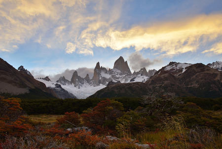 fitz: Fitz Roy Autumn Color and sunset,  Parque Nacional Los Glaciares, Argentina Stock Photo