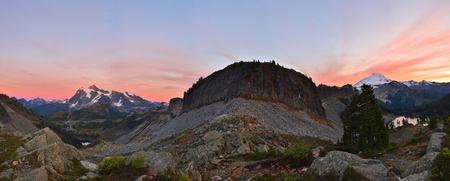 herman: Mt. Baker and Mt. Shuksan viewed from Herman Saddle, Mt. Baker-Snoqualmie National Forest